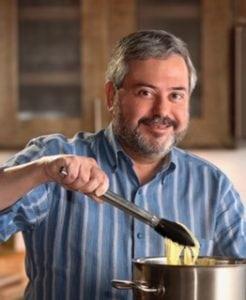 Giuliano Hazan in the kitchen