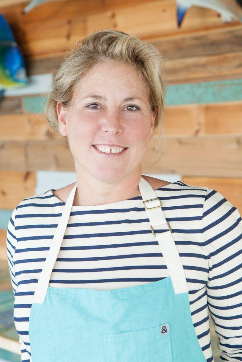 Marilyn Schlossbach in apron