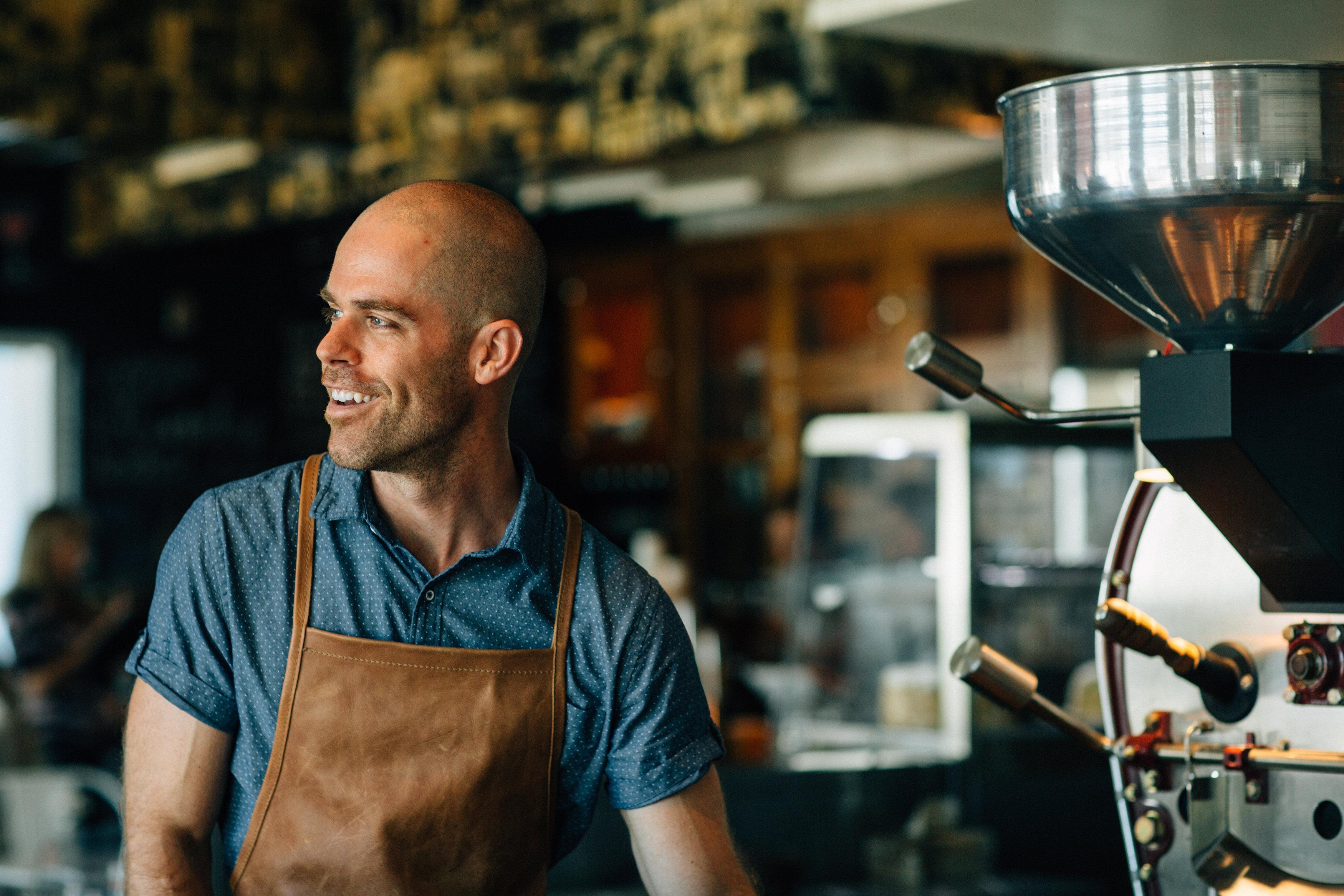 Sean Scott making coffee