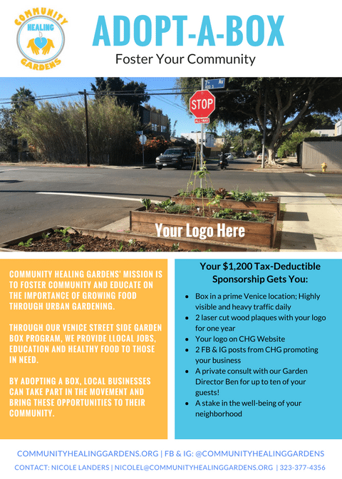 Community Healing Gardens Adopt-A-Box Flyer