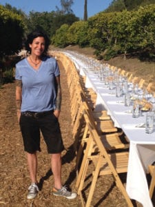 Debi Saltzberg at a farm dinner
