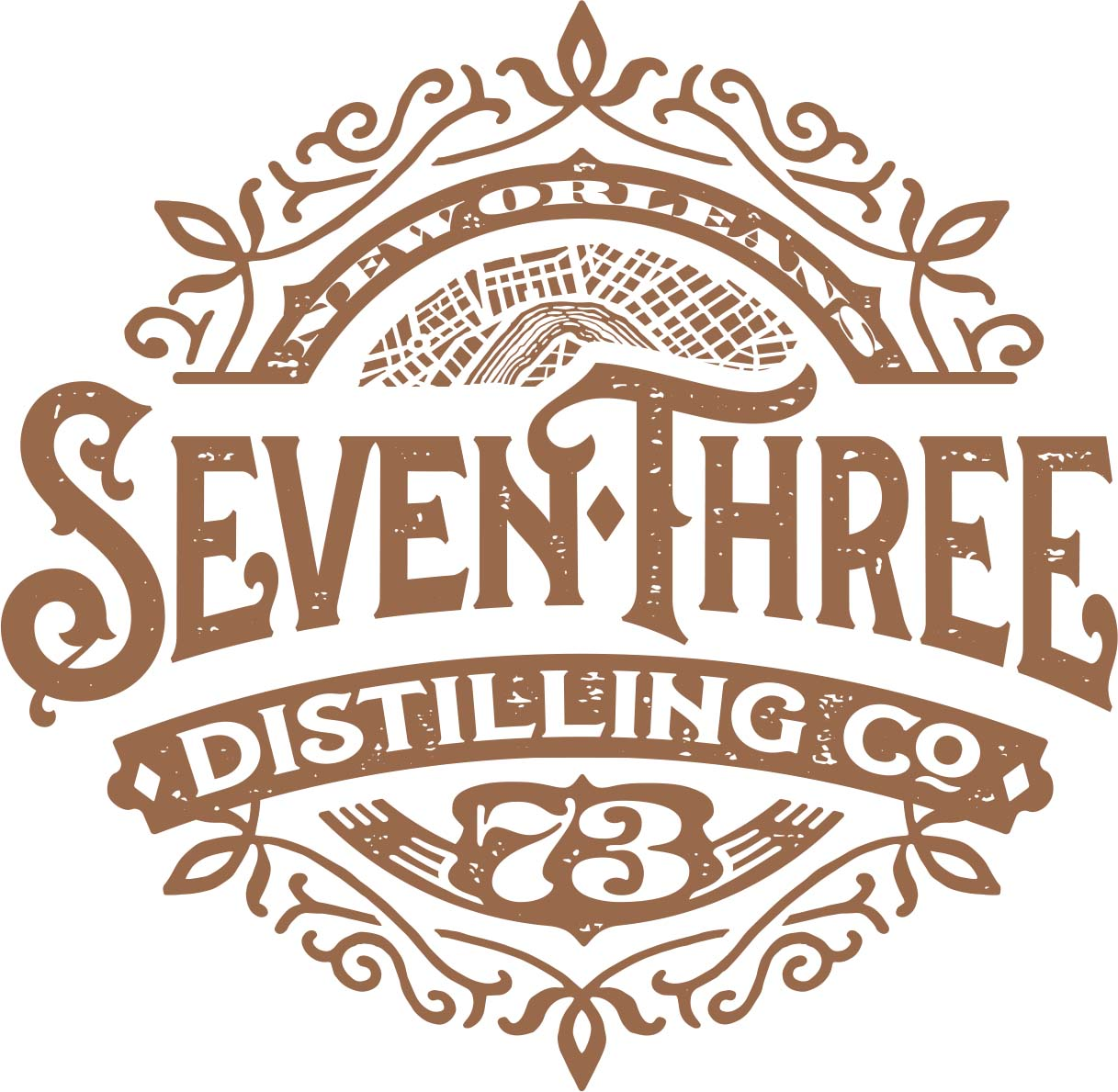Seven Three Distilling Logo by Eileen Bivalacqua & Mary Anna Rogers